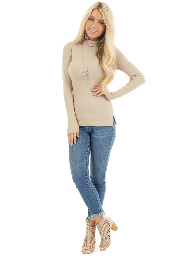 Beige Turtleneck Slim Fit Knit Top with Long Sleeves front full body