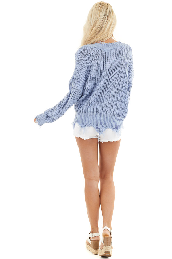 Dusty Blue V Neck Sweater with Distressed Hemline and Cuffs back full body