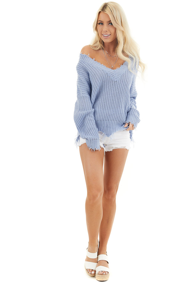 Dusty Blue V Neck Sweater with Distressed Hemline and Cuffs front full body
