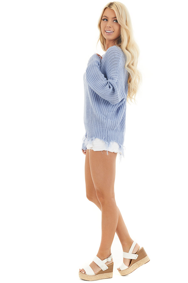 Dusty Blue V Neck Sweater with Distressed Hemline and Cuffs side full body