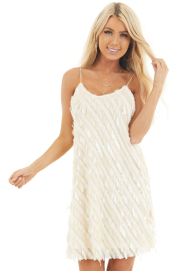 Cream Textured Teardrop Sequin Spaghetti Strap Mini Dress front close up