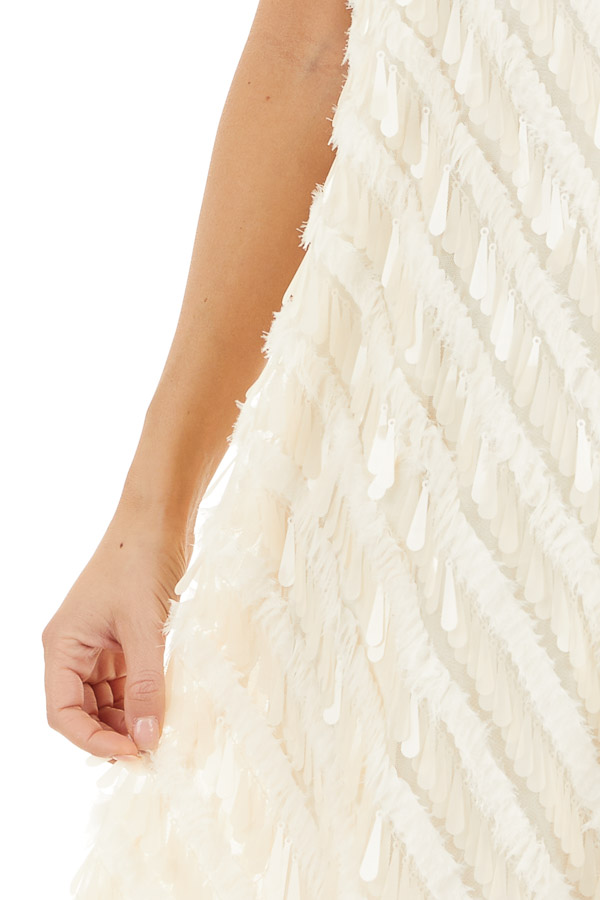 Cream Textured Teardrop Sequin Spaghetti Strap Mini Dress detail