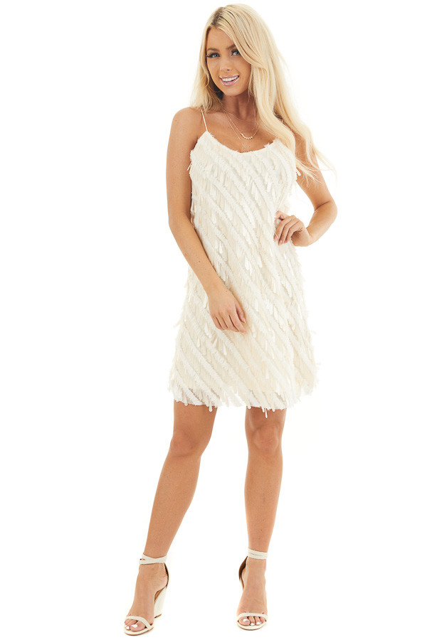 Cream Textured Teardrop Sequin Spaghetti Strap Mini Dress front full body