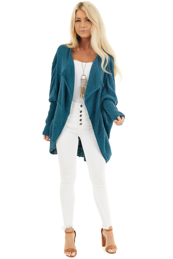 Dark Teal Open Front Cardigan with Long Dolman Sleeves front full body