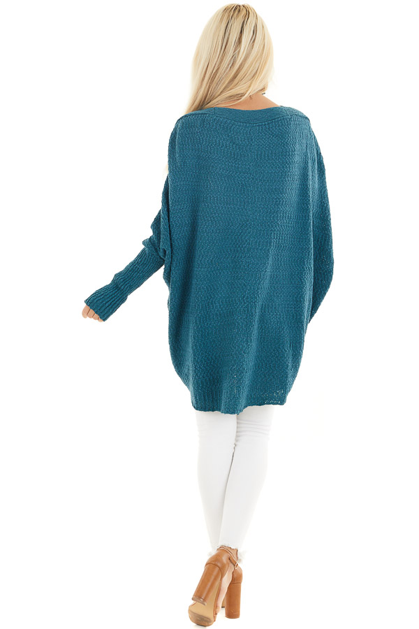 Dark Teal Open Front Cardigan with Long Dolman Sleeves back full body