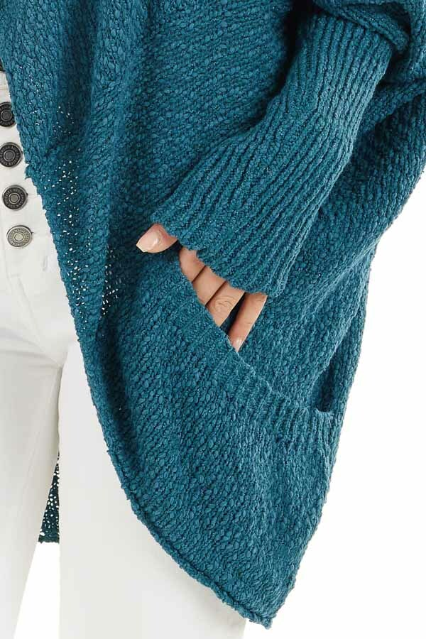 Dark Teal Open Front Cardigan with Long Dolman Sleeves detail