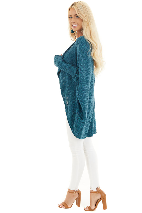 Dark Teal Open Front Cardigan with Long Dolman Sleeves side full body