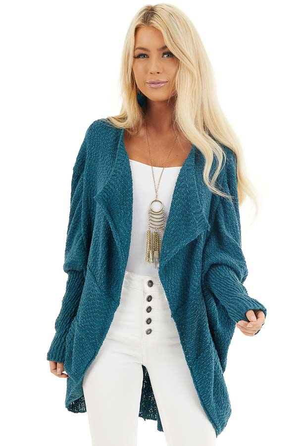 Dark Teal Open Front Cardigan with Long Dolman Sleeves front close up