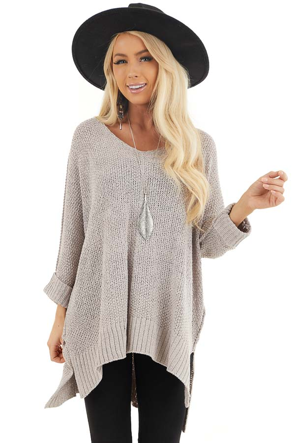 Dove Grey 3/4 Sleeve Sweater with High Low Hemline front close up