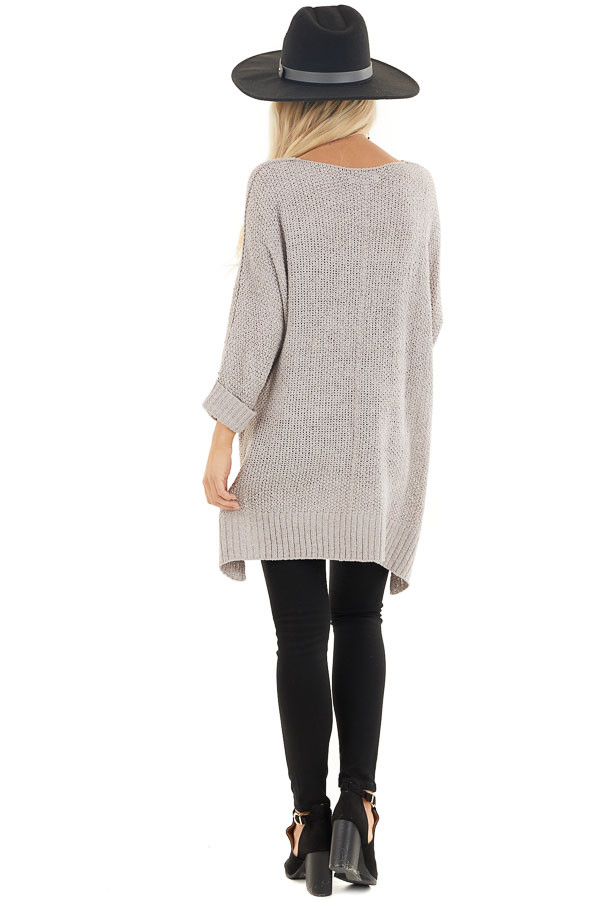 Dove Grey 3/4 Sleeve Sweater with High Low Hemline back full body