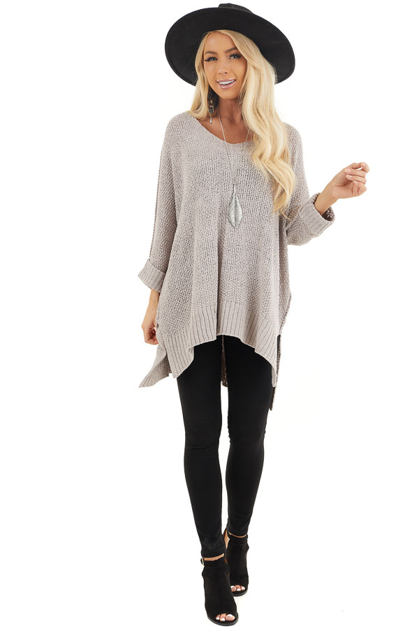 Dove Grey 3/4 Sleeve Sweater with High Low Hemline front full body