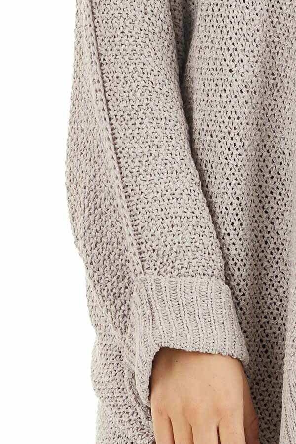 Dove Grey 3/4 Sleeve Sweater with High Low Hemline detail