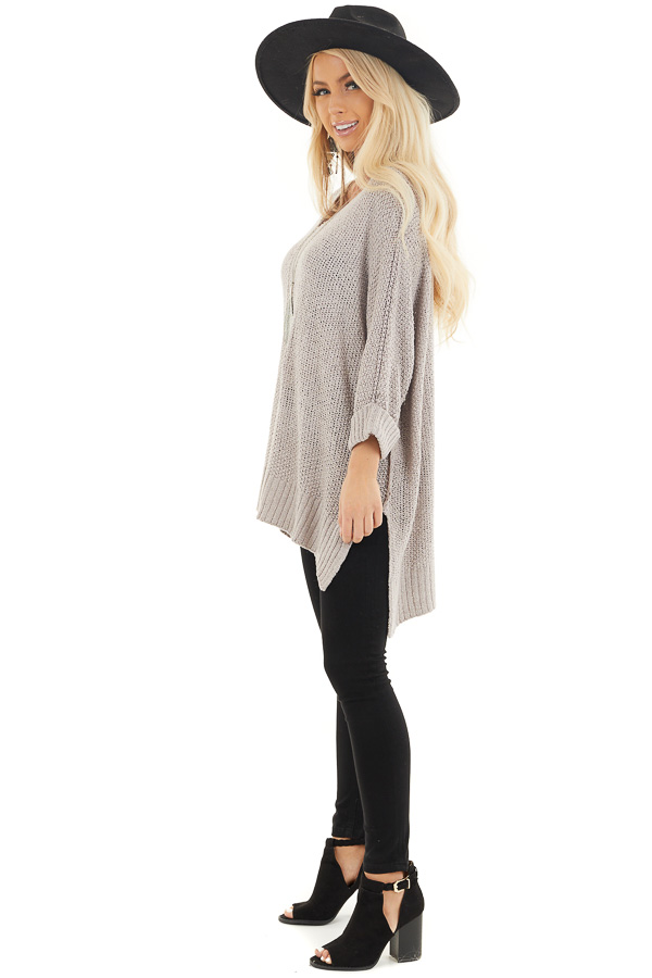 Dove Grey 3/4 Sleeve Sweater with High Low Hemline side full body