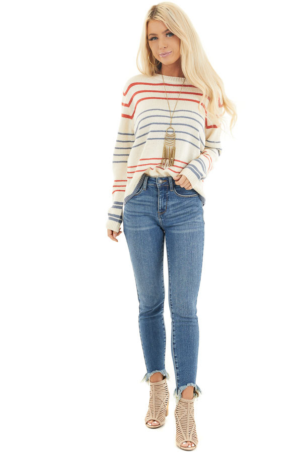 Off White and Rust Striped Long Sleeve Knit Sweater front full body
