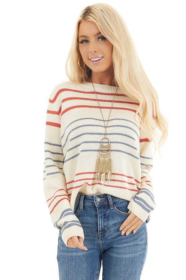 Off White and Rust Striped Long Sleeve Knit Sweater front close up