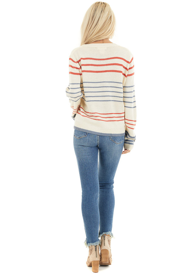 Off White and Rust Striped Long Sleeve Knit Sweater back full body