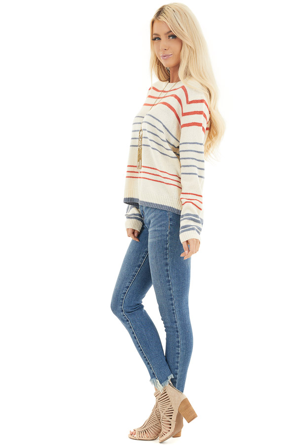 Off White and Rust Striped Long Sleeve Knit Sweater side full body