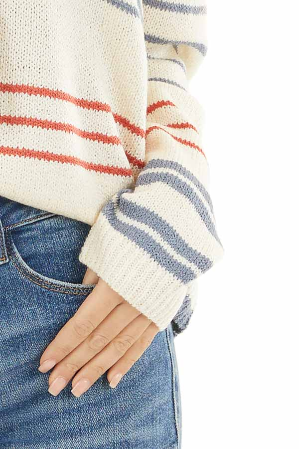 Off White and Rust Striped Long Sleeve Knit Sweater detail