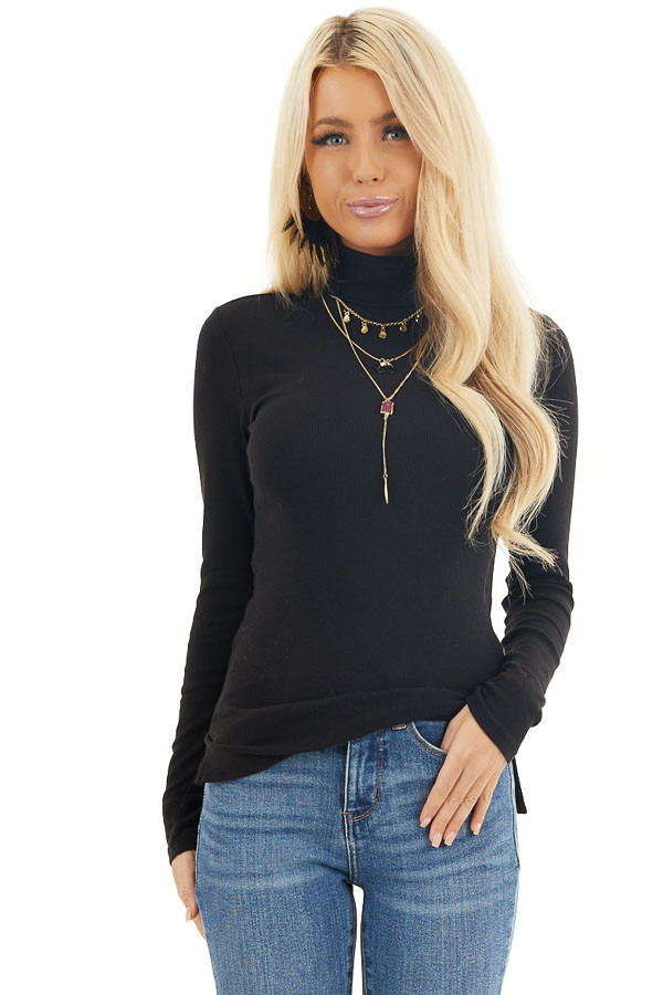 Black Turtleneck Slim Fit Knit Top with Long Sleeves front close up