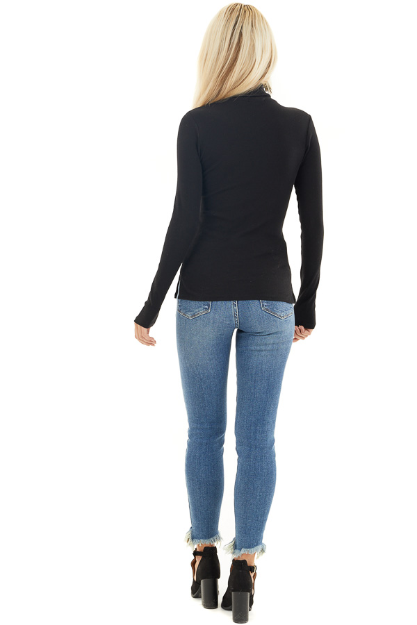 Black Turtleneck Slim Fit Knit Top with Long Sleeves back full body