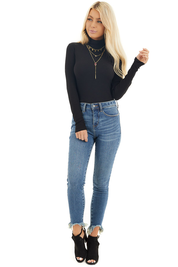 Black Turtleneck Slim Fit Knit Top with Long Sleeves front full body