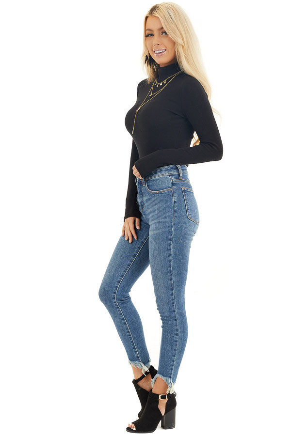 Black Turtleneck Slim Fit Knit Top with Long Sleeves side full body