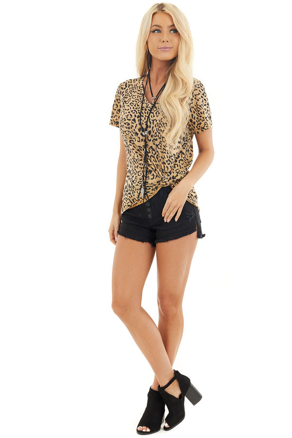 Toffee Leopard Print Short Sleeve Top with V Neckline front full body