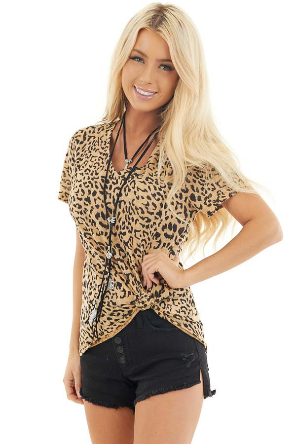 Toffee Leopard Print Short Sleeve Top with V Neckline front close up