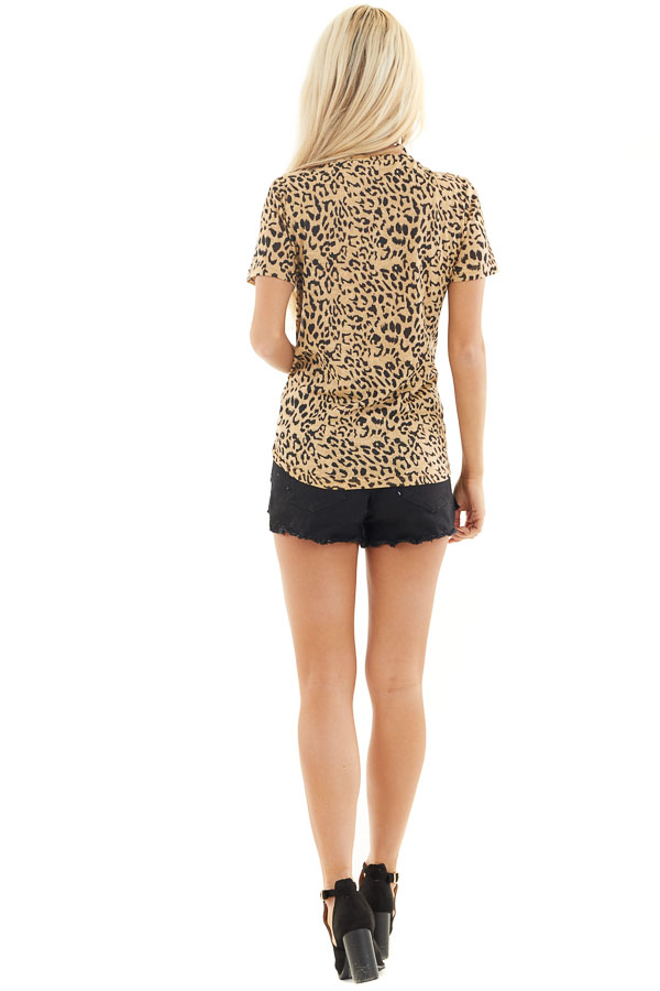 Toffee Leopard Print Short Sleeve Top with V Neckline back full body