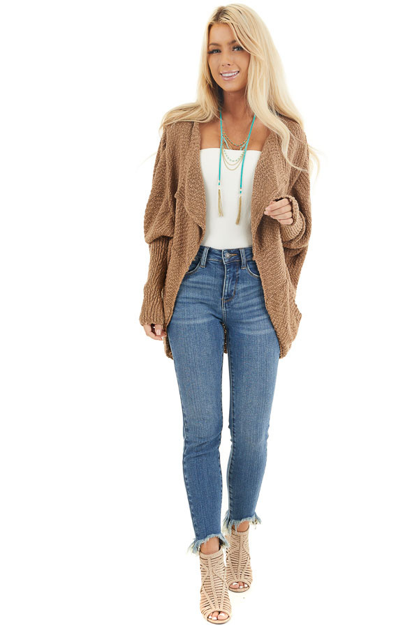 Latte Open Front Cardigan with Long Dolman Sleeves front full body
