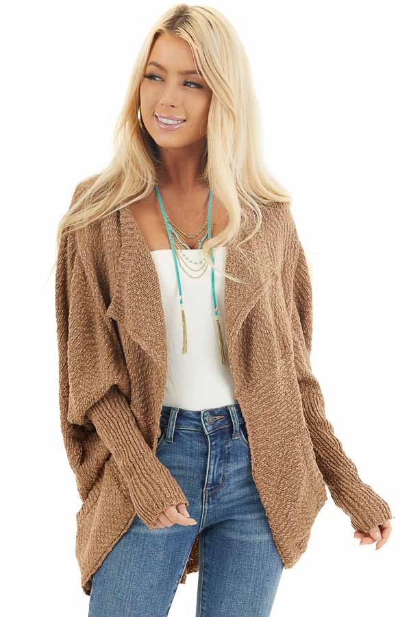 Latte Open Front Cardigan with Long Dolman Sleeves front close up