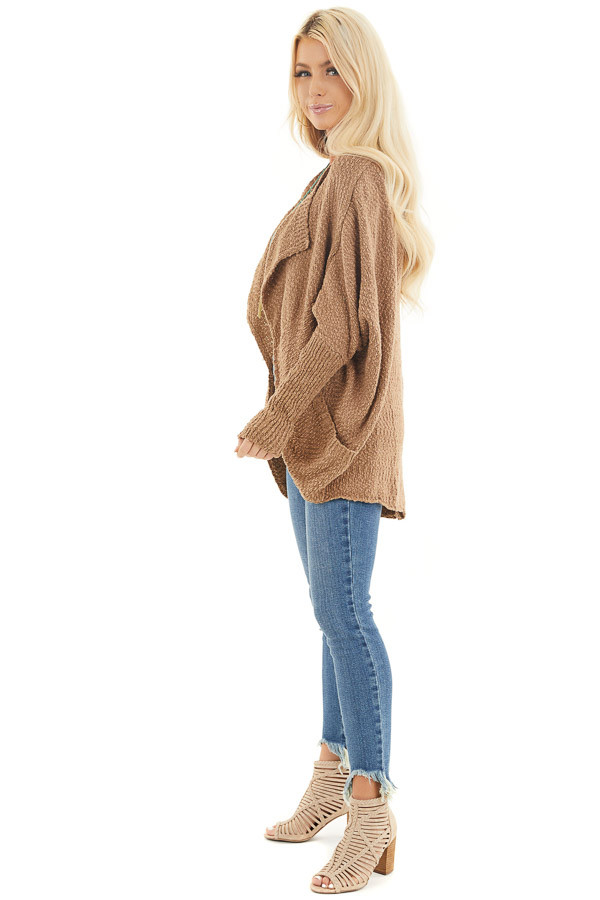 Latte Open Front Cardigan with Long Dolman Sleeves side full body