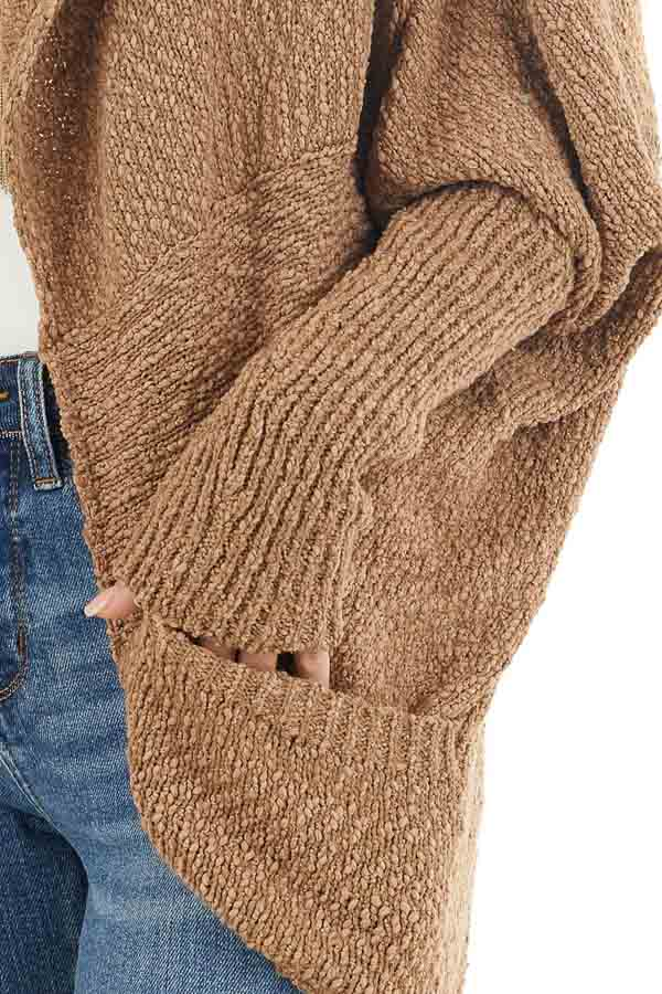 Latte Open Front Cardigan with Long Dolman Sleeves detail