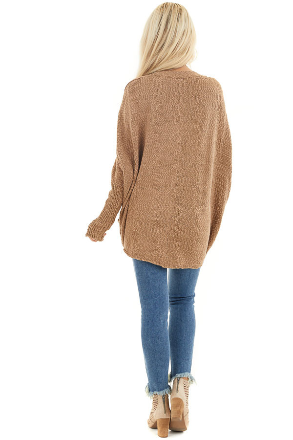 Latte Open Front Cardigan with Long Dolman Sleeves back full body