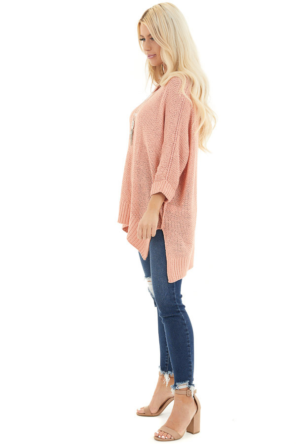 Salmon 3/4 Sleeve Sweater with High Low Hemline side full body