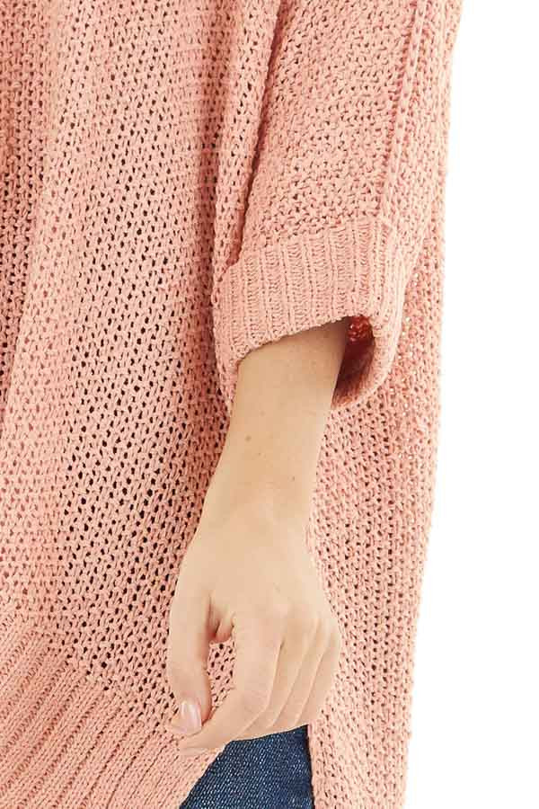 Salmon 3/4 Sleeve Sweater with High Low Hemline detail