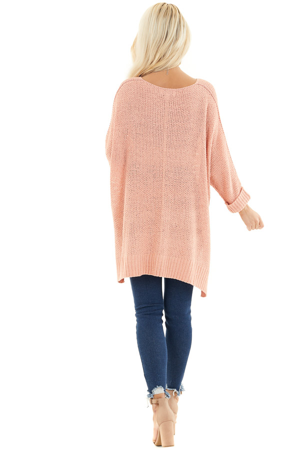 Salmon 3/4 Sleeve Sweater with High Low Hemline back full body