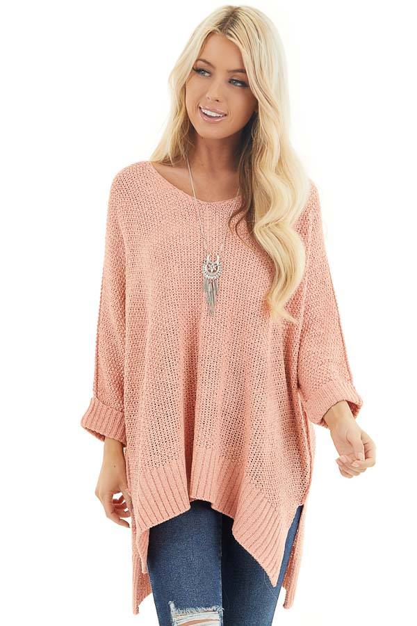 Salmon 3/4 Sleeve Sweater with High Low Hemline front close up
