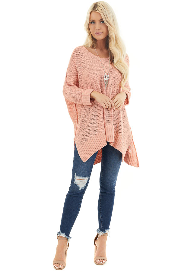 Salmon 3/4 Sleeve Sweater with High Low Hemline front full body