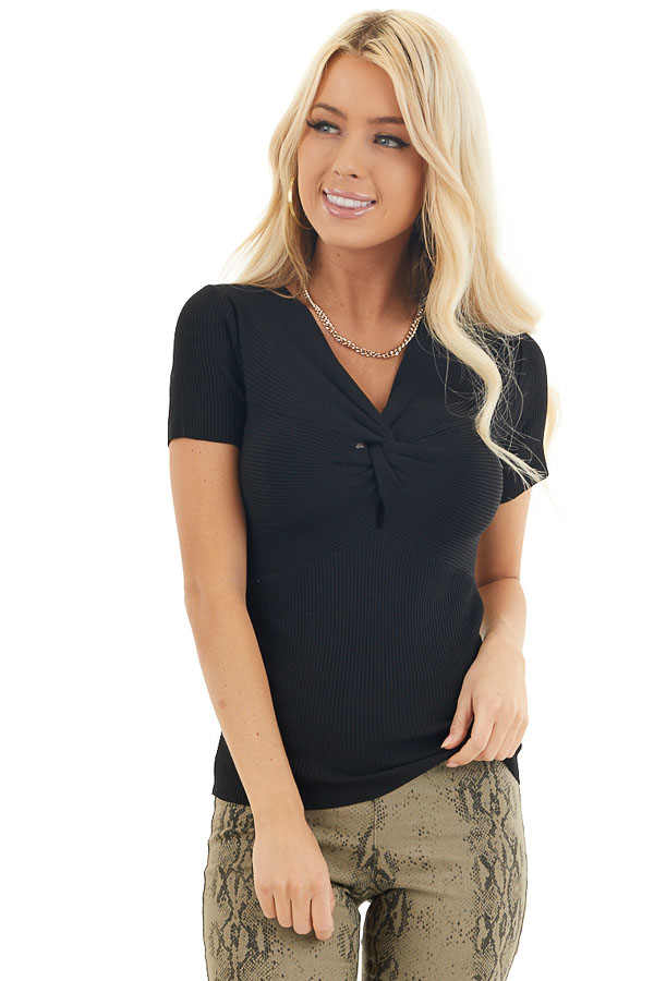 Black Ribbed Knit Short Sleeve Top with Front Twist Detail front close up