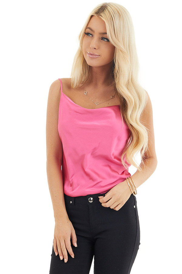 Bright Pink Silky Camisole with Draped Neckline front close up