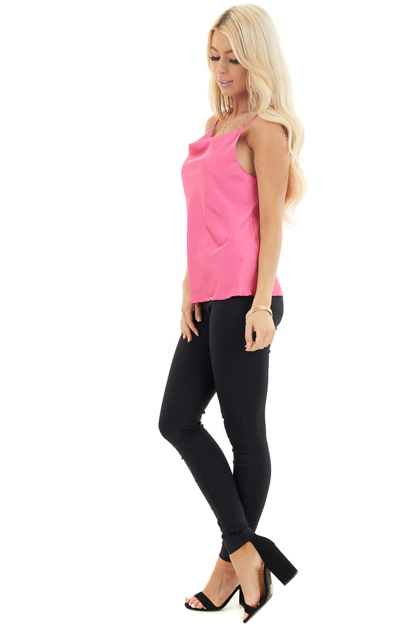 Bright Pink Silky Camisole with Draped Neckline side full body