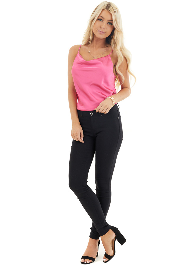 Bright Pink Silky Camisole with Draped Neckline front full body