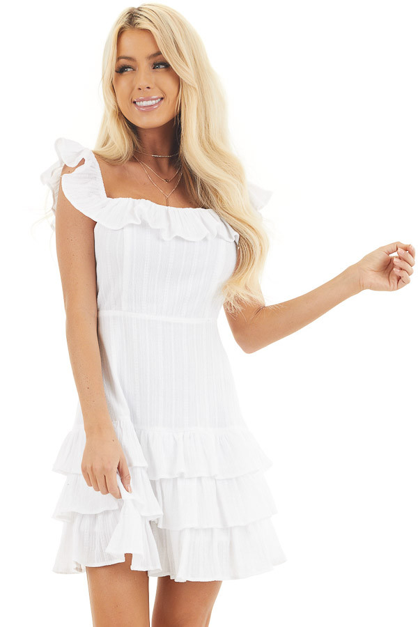 White Tiered Fitted Mini Dress with Ruffle Details front close up