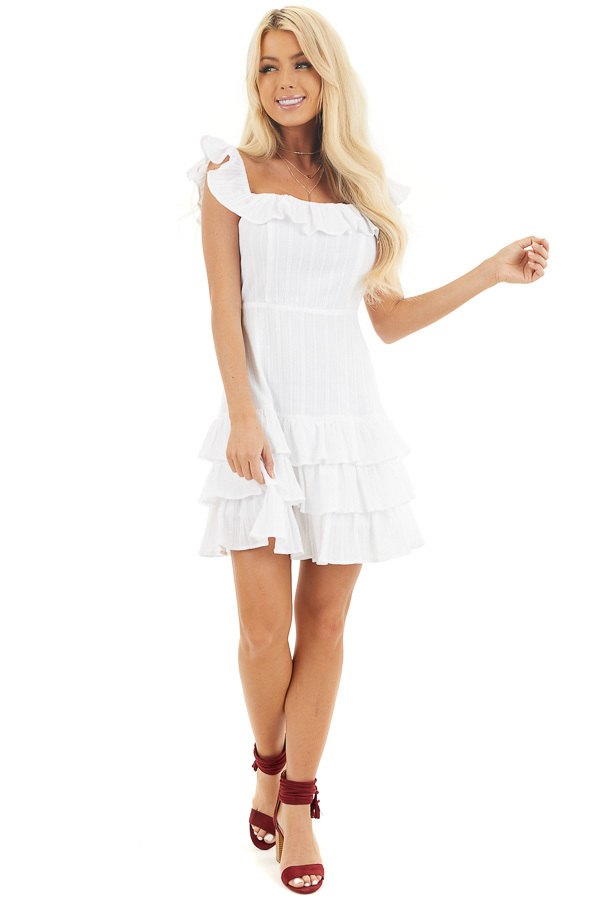 White Tiered Fitted Mini Dress with Ruffle Details front full body