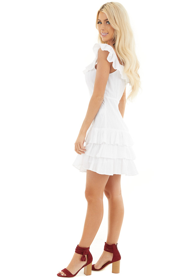 White Tiered Fitted Mini Dress with Ruffle Details side full body