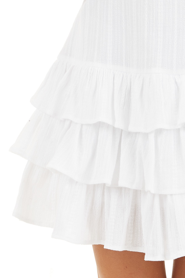 White Tiered Fitted Mini Dress with Ruffle Details detail