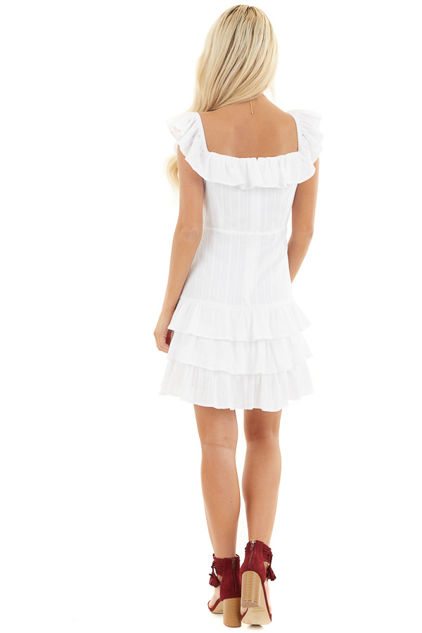 White Tiered Fitted Mini Dress with Ruffle Details back full body