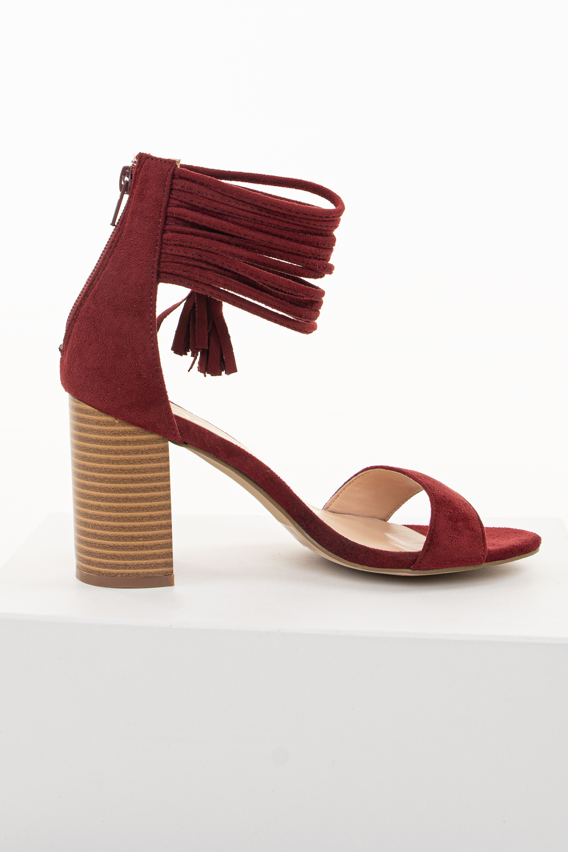 Maroon High Heeled Sandal with Strappy Ankle Details