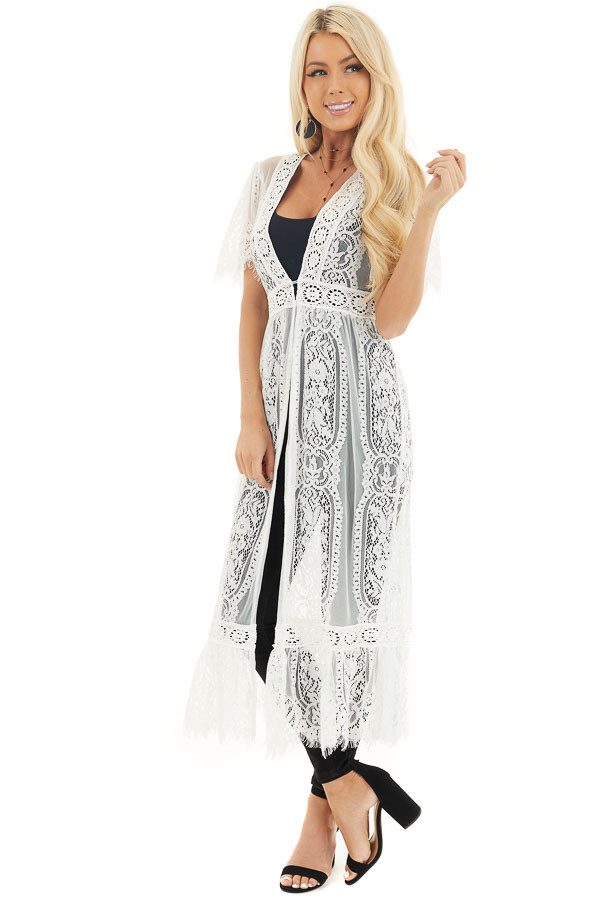 Ivory Lace Kimono with Button Closure and Ruffle Detail front full body